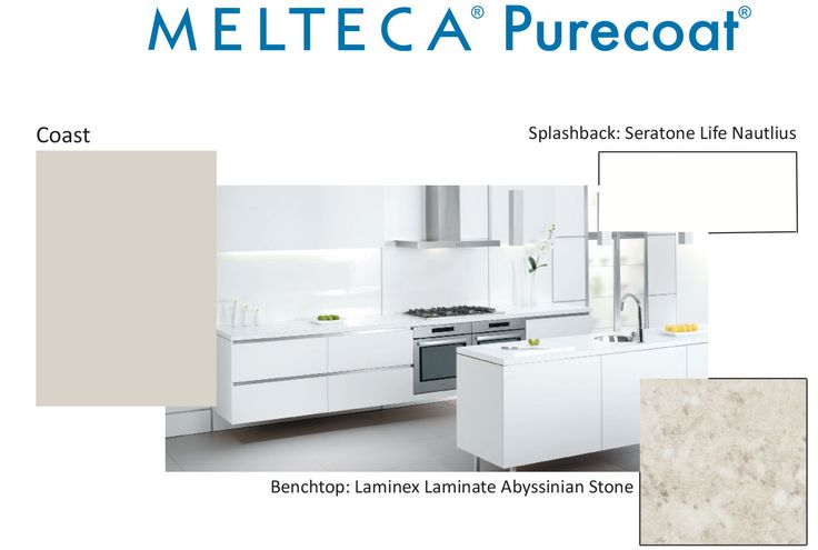 Melteca Purecoat Coast with a Laminex Abyssian Stone benchtop and a splashback in Seratone Life Nautilus