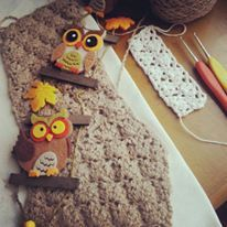 Vintage Owl with Crochet Work in Process