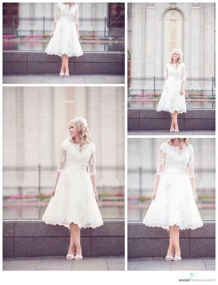 SO pretty!! Tea length modest lace dress