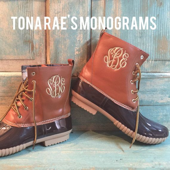 monogrammed duck boots - in stock - llbean inspired monogram boots