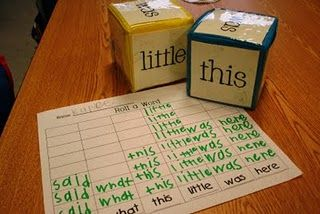 Roll a Word - Working with Words! I am going to adapt this idea for spelling high frequency words in 4th grade Writing Lessons