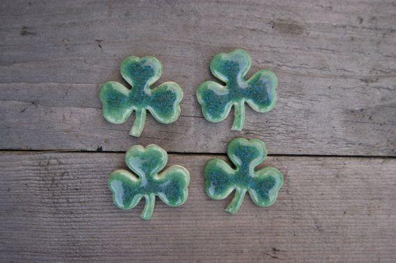 Shamrock brooch, clover pin, Ceramic clover brooch, ceramic brooch, St Patrick's Day, Shamrock pin, Green Shamrock Irish Clover by GlinianaKoniczynka