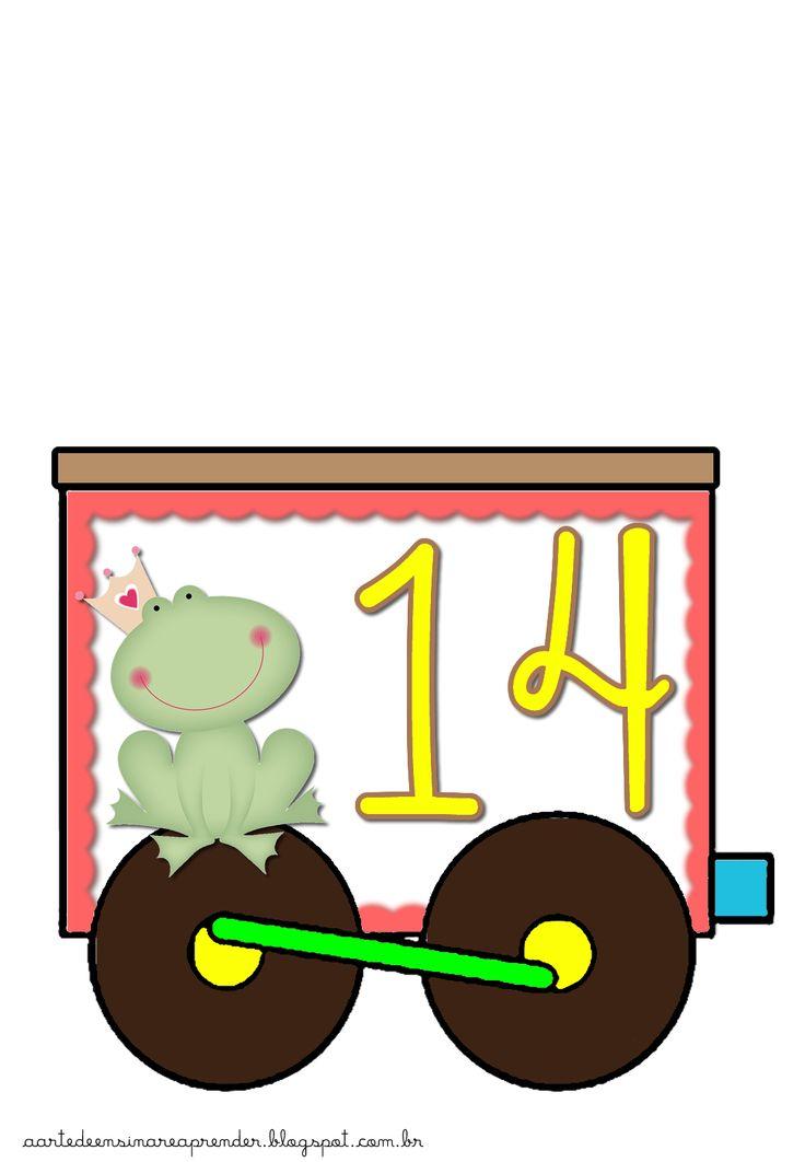 Estou apaixonada por este trenzinho dos numerais do 1 ao 30.   Vai ficar lindo na parede da sala!                                       ...