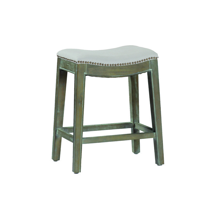 Gabby Home Vivian Burnished Oak And Linen Dove Sunbrella Fabric Counter Stool On SALE
