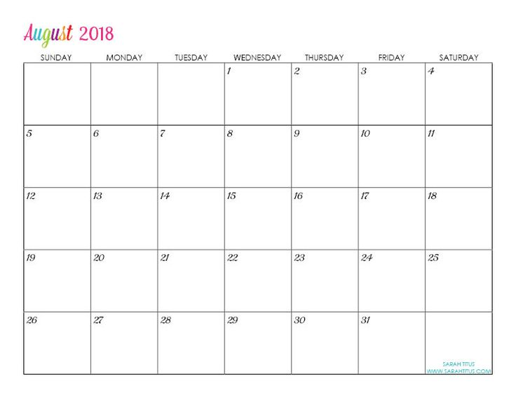 free printable 2018 monthly calendars