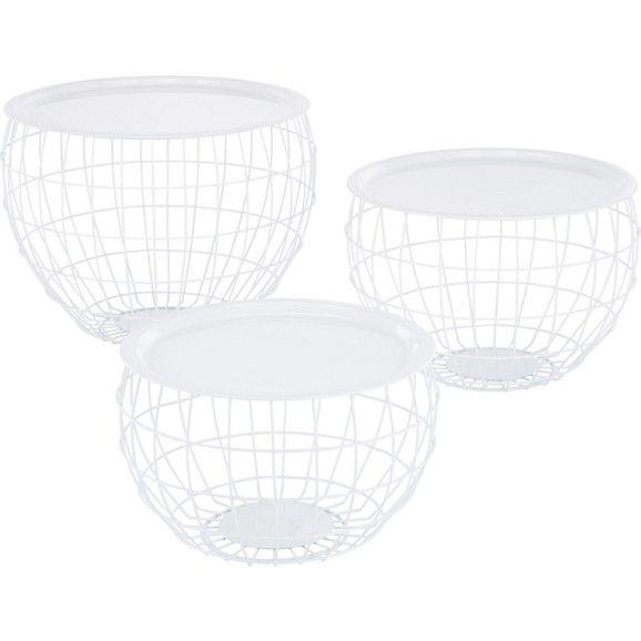 Beistelltisch im 3-er Set aus Metall in Weiß - dekorativ und praktisch