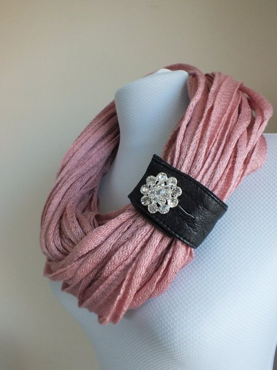 SCARF // Handmade Infinity Eternity Scarf Noodle Scarves Cotton Fashion Neckwarmer Circle Necklace Chunky Cowl Pink on Etsy, $27.36 CAD