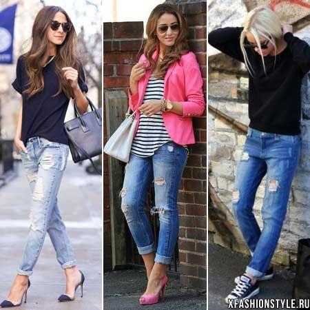 С чем носить рваные джинсы. Фото