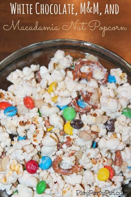 White Chocolate M&Ms and Macadamia Nut Popcorn #BakingIdeas #shop #cbias