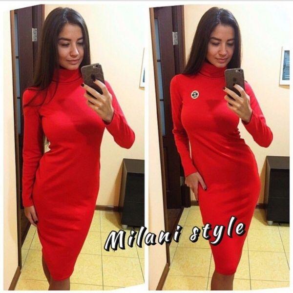 Платье гольф теплое однотонное изысканное красный  миди