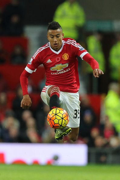 Jesse Lingard of Manchester United during the Barclays Premier League match between Manchester United and West Bromwich Albion at Old Trafford on...