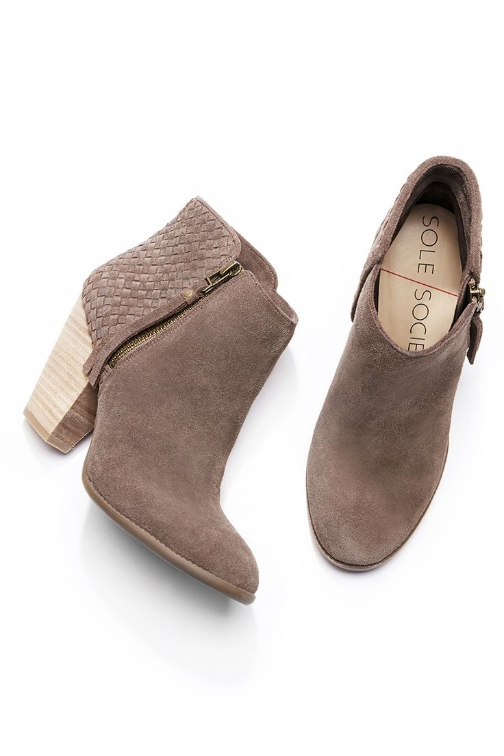 Brown suede bootie with gorgeous woven details at the back