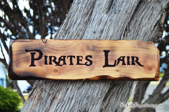 Pirates Lair Sign Carved Wood Pirates of the by TheJollyGeppetto