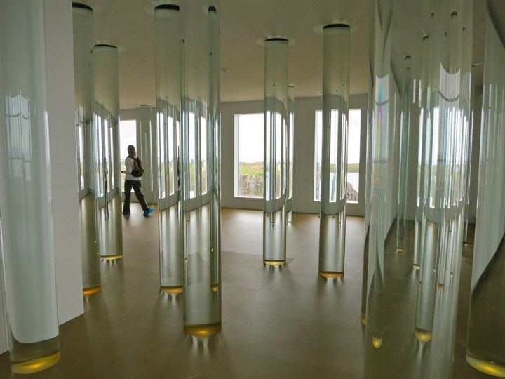 The Library of water, an installation of 24 floor-to-ceiling columns, each…