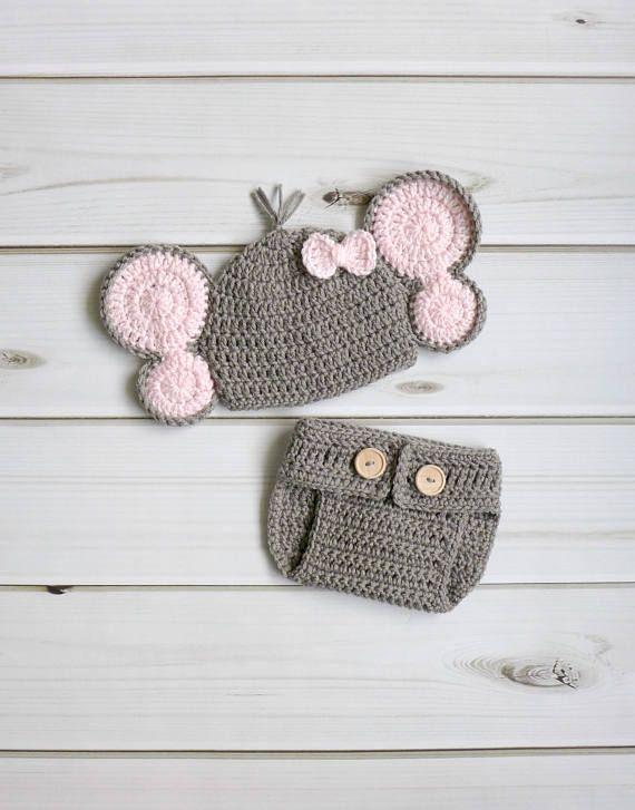Crochet Photography Prop Elephant Photo Prop Baby Elephant