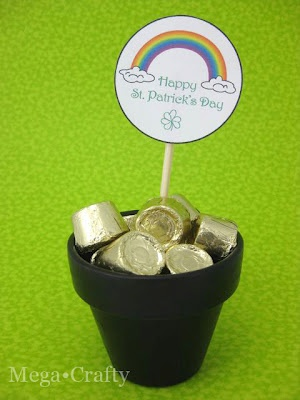 For the office!  St. Patrick's Day Rollos in black flower pot as gold