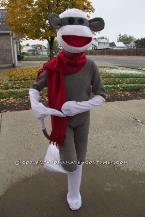 Cool Homemade Sock Monkey Costume That'll Knock Your Socks Off!... This website is the Pinterest of costumes