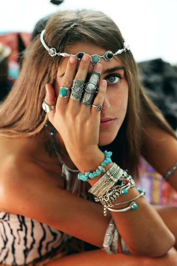 Turquoise and silver jewelry. There are no Boho clothes, no Boho jewelry, no Gypsy hair...only Gypsy-at-Heart Bohemian Girls with Style and Moxie!