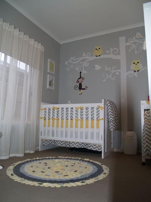 SUCH a cute grey and yellow nursery! And the yellow could be substitute for green/blue :) So cute!   Bedding from: http://www.babybedding.com/gray-and-yellow-zig-zag-crib-bedding  Decals from: http://www.etsy.com/shop/couturedecals  Rug from: http://www.etsy.com/shop/GiulianaDesign