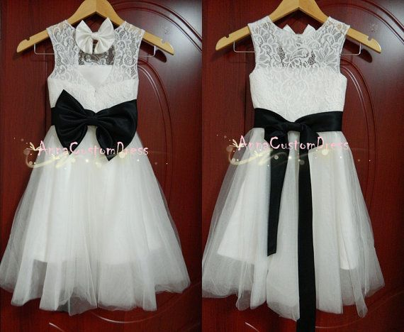 Ivory Lace Flower Girl Dress Black Country Wedding Baby Girls ...