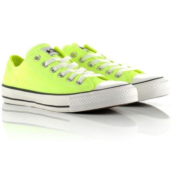 Converse All Star Ox Neon ($32) ❤ liked on Polyvore featuring shoes, sneakers, converse, lace up sneakers, white rubber shoes, converse shoes, white shoes and neon yellow shoes