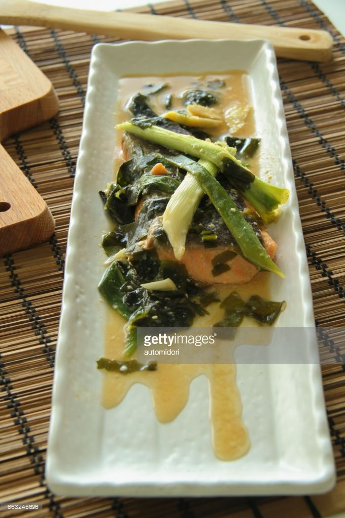 Salmon, wakame, and green onion in miso sauce.