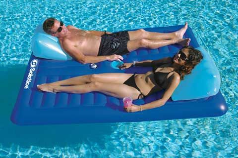 face to face pool float. so we can talk and dont have to worry about floating away.