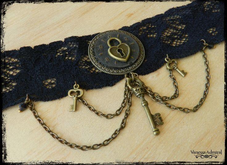 Vanessa Admiral Jewellery — Steampunk Black Lace Clockwork & Keys Choker