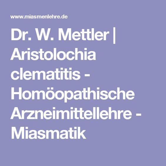 Dr. W. Mettler | Aristolochia clematitis - Homöopathische Arzneimittellehre - Miasmatik