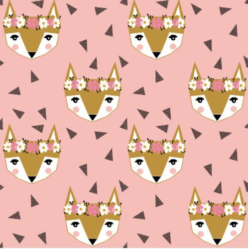 Fox Fabric - Fox Flower Crown Pink Spring Cute Girly Nursery Baby Fabric By Charlotte Winter Cotton Fabric By The Yard with Spoonflower by Spoonflower on Etsy https://www.etsy.com/listing/293513107/fox-fabric-fox-flower-crown-pink-spring