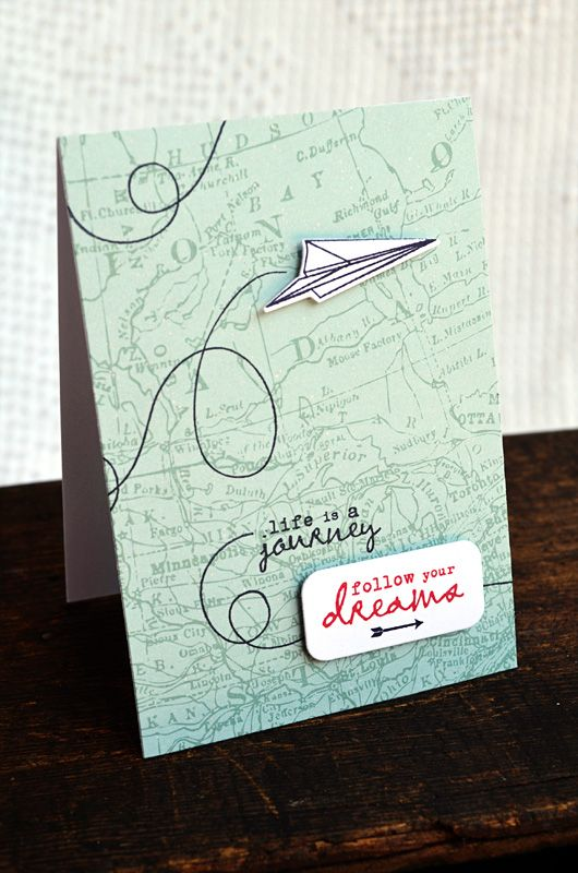 Follow Your Dreams Card by Jess Witty for Papertrey Ink (June 2012) cute with map background and airplane
