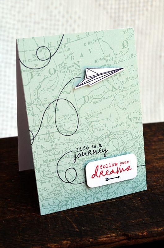 Preciosa tarjeta ideal para desear un buen viaje, perfecta tambien como portada de un diario de viaje o libreta.