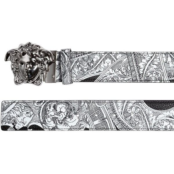 Versace Men Reversible Baroque Printed Leather Belt ($530) ❤ liked on Polyvore featuring men's fashion, men's accessories, men's belts, mens leather belts, versace mens belt, men's reversible belt, men's reversible leather belt and mens adjustable belt