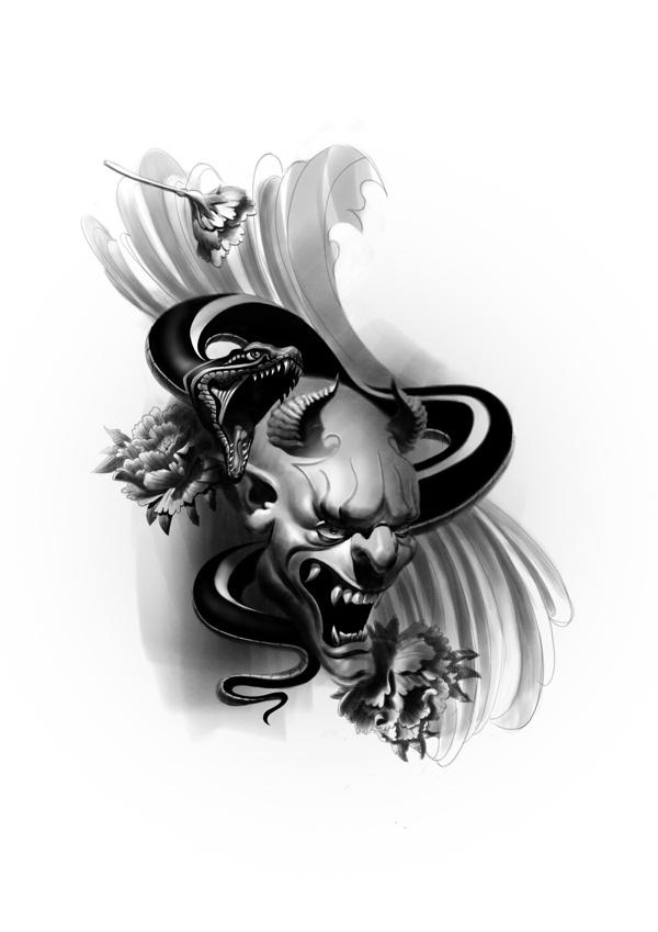 Hannya mask by Áron Elekes, via Behance