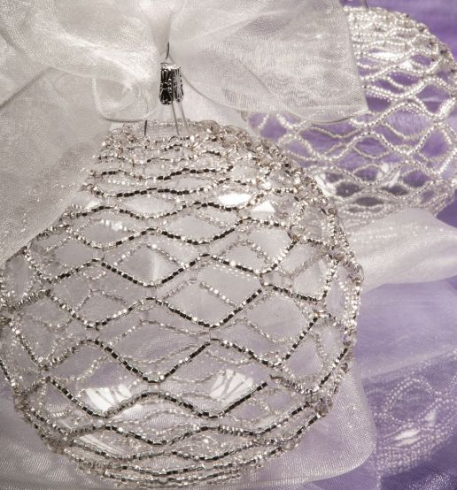 Czech Round Seed Beads, SuperDuo or Twin - SEED BEAD NET Christmas Beaded Decoration