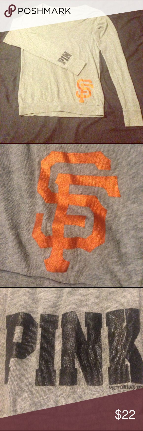 """Victoria's Secret Pink MLB SF Giants Shirt Long sleeve gray shirt. Only worn a few times. Minimal wear. """"Pink"""" on the sleeve. """"Caught looking"""" on the back. Wording is partially metallic. SF giants MLB shirt. PINK Victoria's Secret Tops Tees - Long Sleeve"""