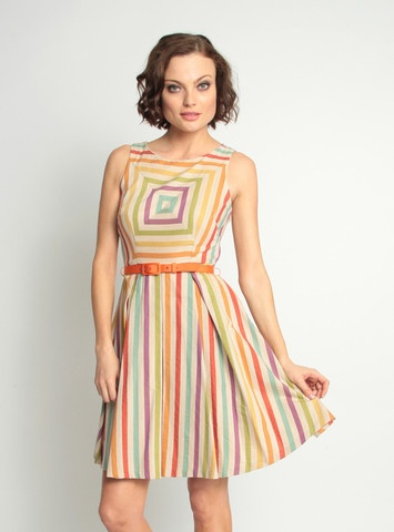 Loved this dress since I saw it on #Glee. So happy to have found it. Thanks internet!: Summer Dresses, Rainbows Dresses, Carnival Stripes, Franco Alma, Alma Dresses, The Dresses, Eva Franco, Stripes Dresses, Carnivals Stripes