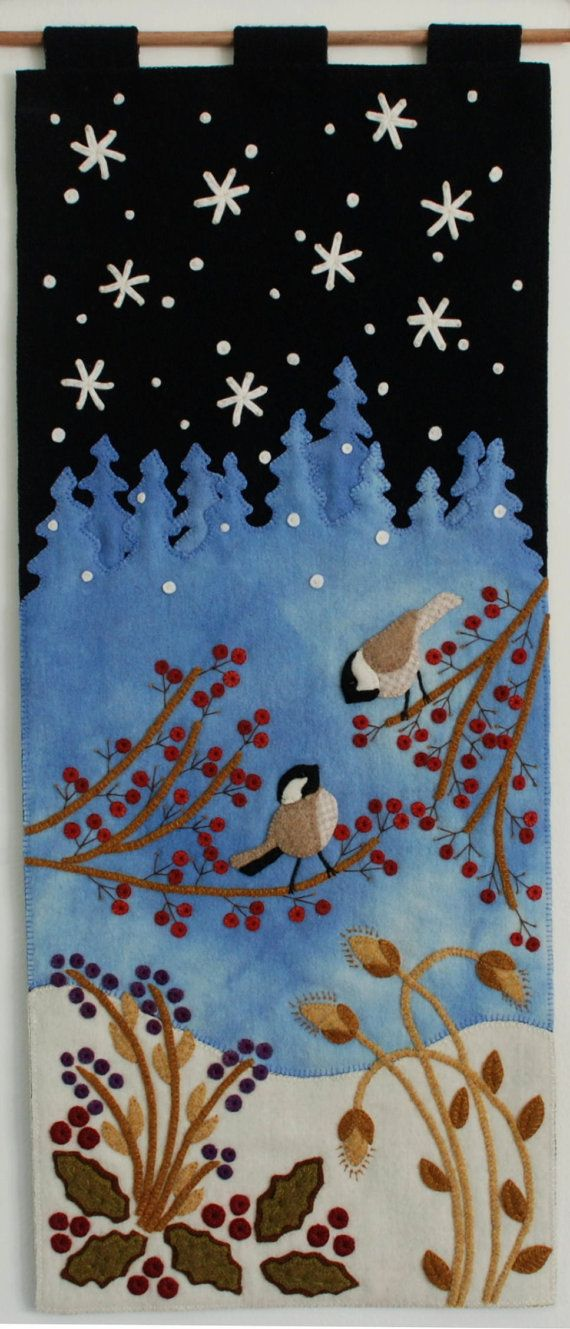 "Wool applique PATTERN Christmas ""Just Starting to Snow Again"" wall hanging winter folk art snow flakes chickadees hand dyed rug hooking wool"