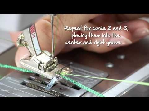 Tutorial: how to sew on cords and ribbons with the BERNINA braiding foot no. 21, 22 and 25 - YouTube