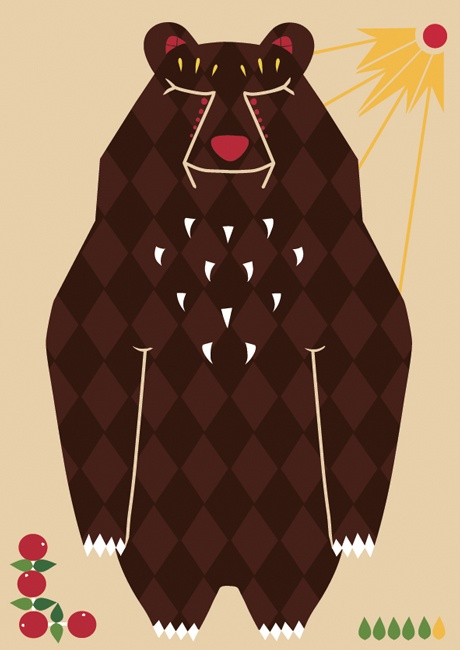 Folkore bear postcard illustration #lingonberry #bear #teresebast