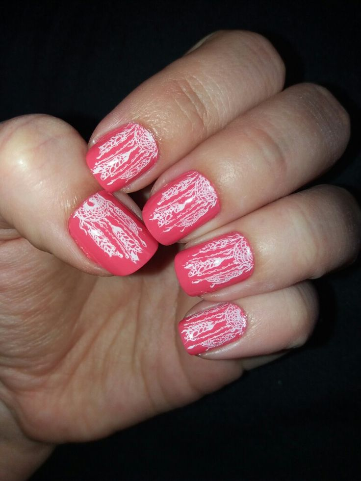 Coral dreamcather nails