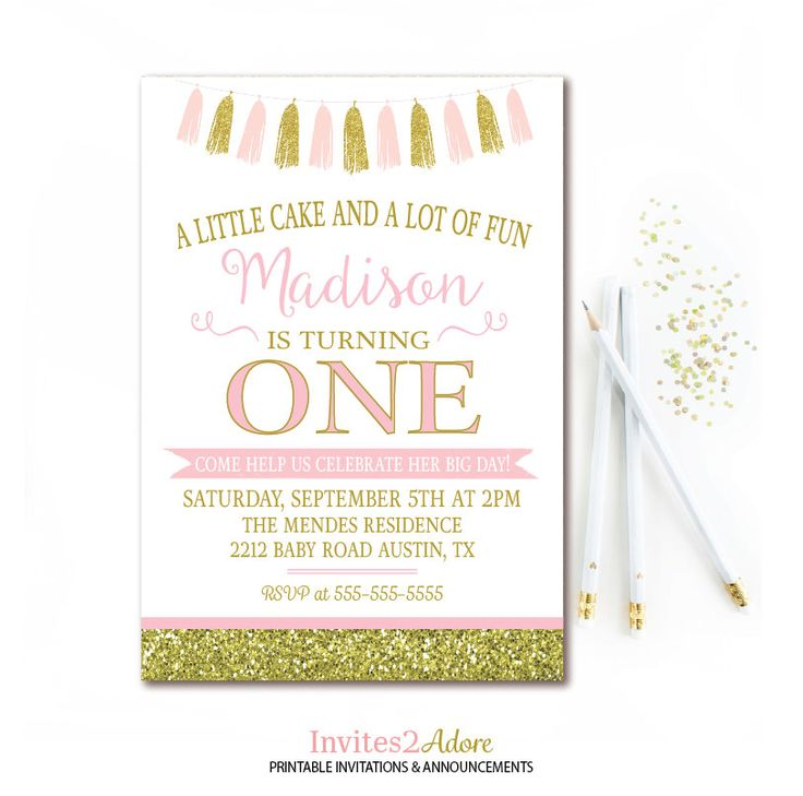 Pink & Gold Birthday Party Invitation - Tassel Birthday Invite - Gold Glitter Birthday - 1st Girls Birthday Invitation - Printable by Invites2Adore on Etsy https://www.etsy.com/listing/233140941/pink-gold-birthday-party-invitation