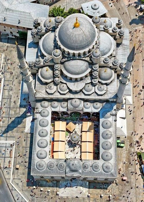 Birdseye view of the New Mosque in Istanbul, finished in 1663