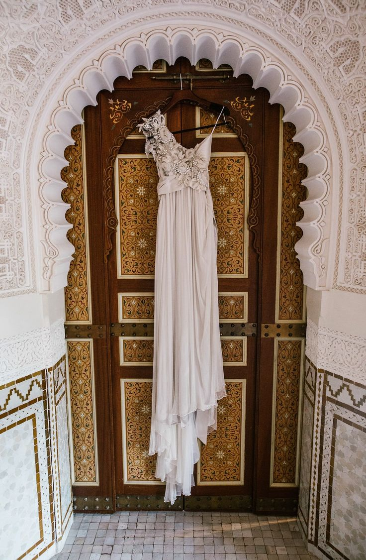 An Embellished Anna Campbell Gown for an Opulent Marrakech Wedding | Anna Campbell | Tash Dress | Gossamer Collection | Vintage-inspired one shoulder wedding dress