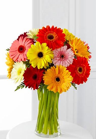 Bouquet di gerbere dai colori misti e verde decorativo