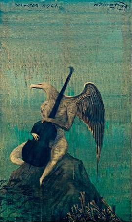 Bill Hammond,Predator Rock, 2007, Acrylic on canvas, 600 x 1000 mm.