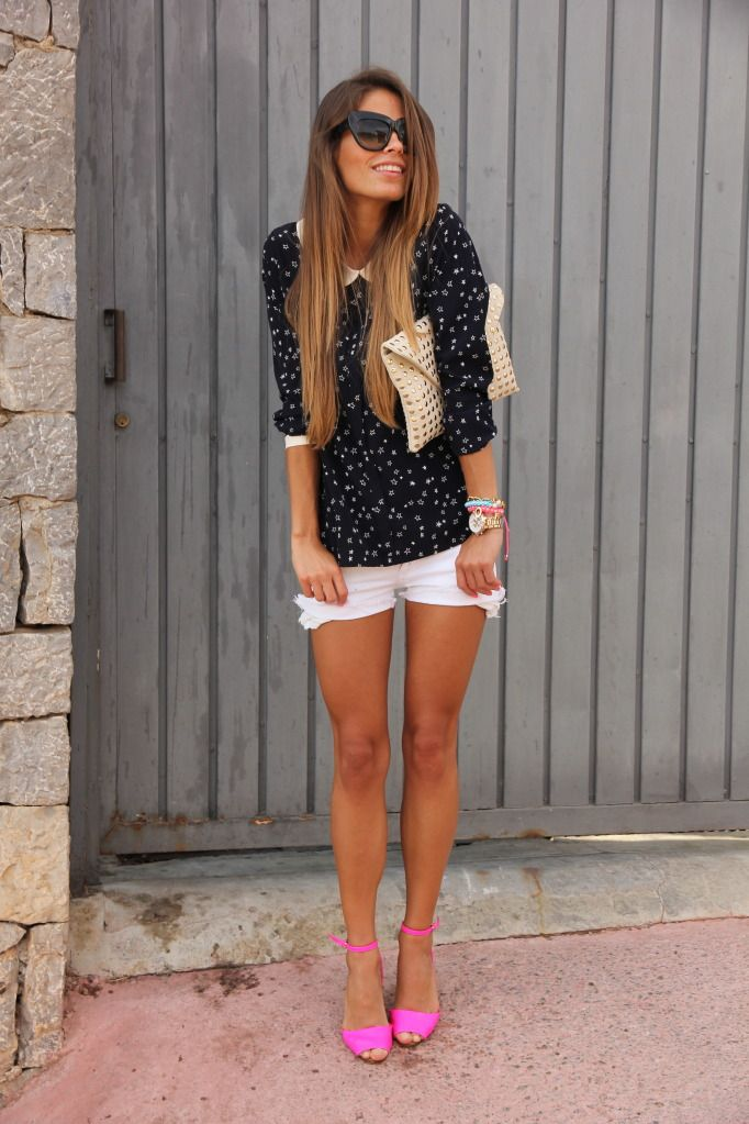 polka dots, neon and ombre hair Minis, Fashion, Polka Dots, Bright Pink, Style, Outfit, Pink Heels, Black White, Pink Shoes