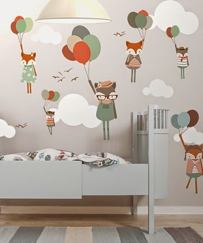 little hands: Little Hands Wallpaper Mural - Fox with Balloons