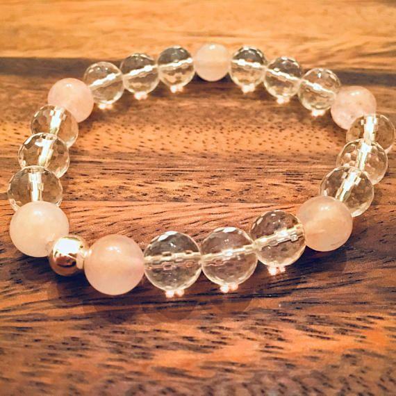 Rose Quartz Beaded Bracelet / Semiprecious Gemstone Bead