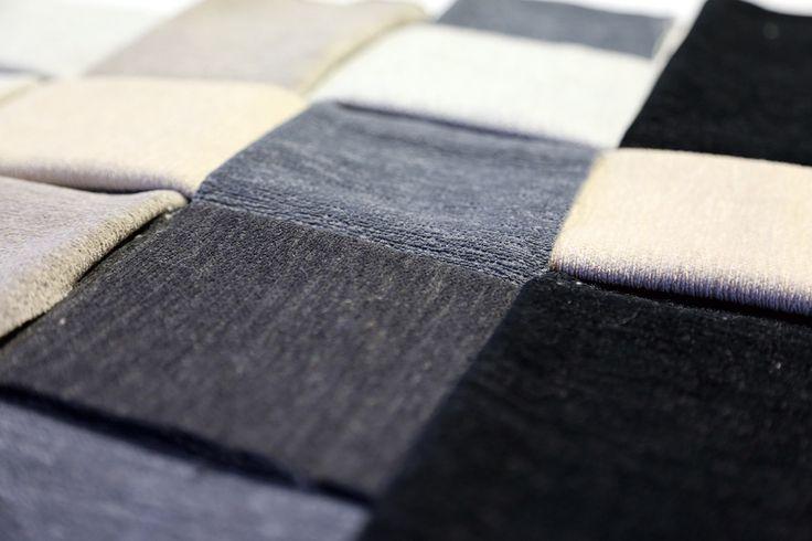 Vedvik. Mykt møbelstoff som minner om velur. Fargerik kolleksjon som går fra nedtonede grå toner til mer klare og sterke farger. Designer: Kristina D. Aas